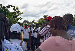 Tieningboué (Côte d'Ivoire): Reunion with framers, presenting mother trials of YAMSYS