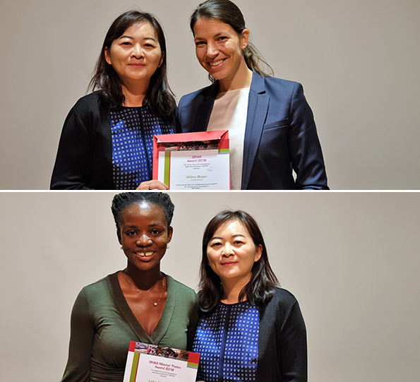 TOP: SFIAR President Yuan Zhou with PhD/PostDoc Award winner Wilma Blaser, BOTTOM: SFIAR Master Thesis Award Winner Lydia Afriyie-Kraft with SFIAR President Yuan Zhou