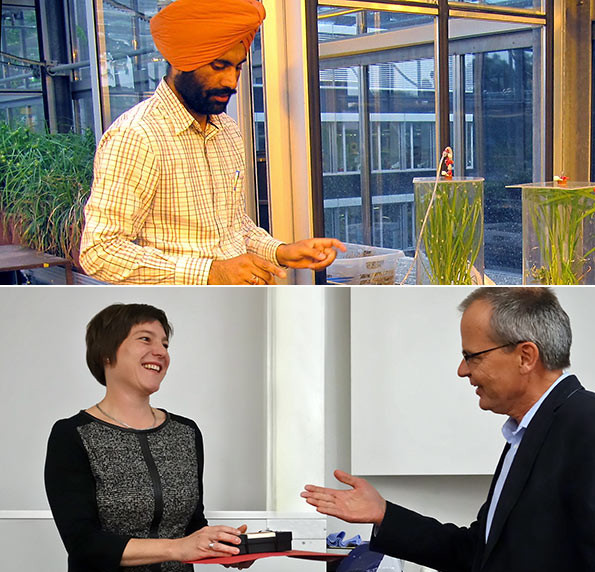 Winners of SFIAR Award 2014: Gurbir Singh Bhullar (top) and Angela Deppeler (bottom left)